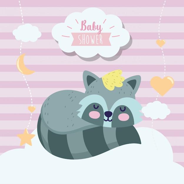 Baby shower lindo mapache durmiendo animal cartoon Vector Premium