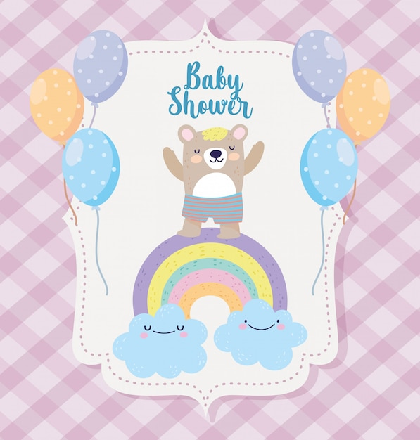Baby Shower Lindo Oso Arcoiris Nubes Globos Dibujos Animados