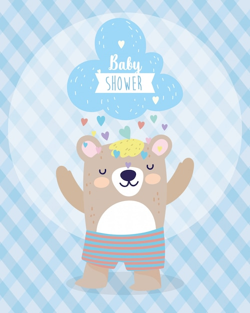 Baby Shower Lindo Oso Y Nube Con Lluvia De Corazones