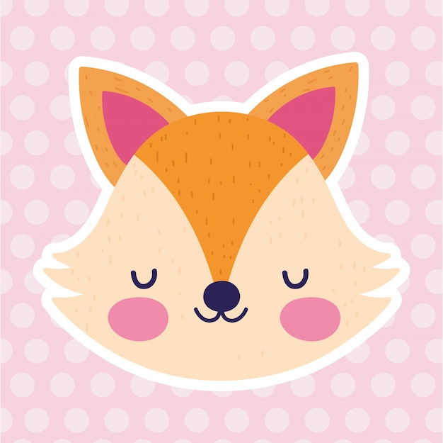 Baby shower love fox face lunares rosas Vector Premium