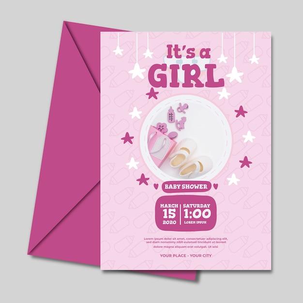 Baby shower para niña plantilla de invitación vector gratuito
