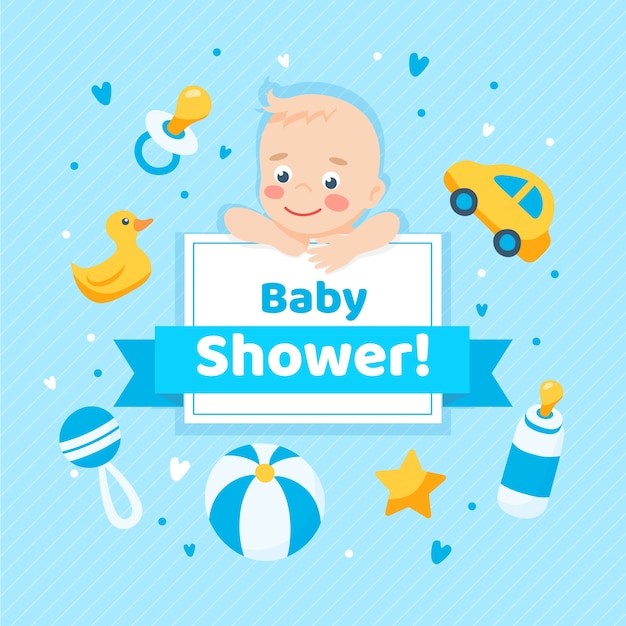 Baby shower para niño vector gratuito