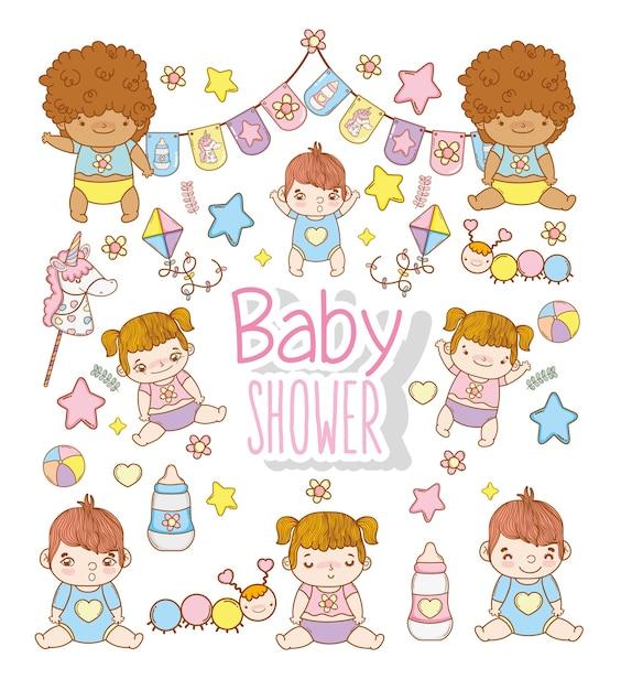 Baby shower niños con decoración de juguetes Vector Premium