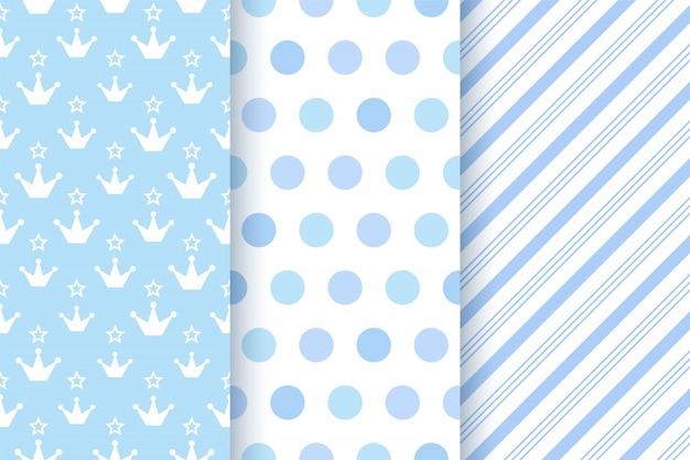 Baby shower patrones sin fisuras para bebé. ilustración. Vector Premium