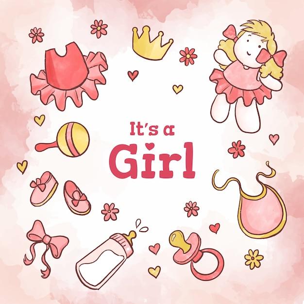 Baby shower rosa Vector Premium