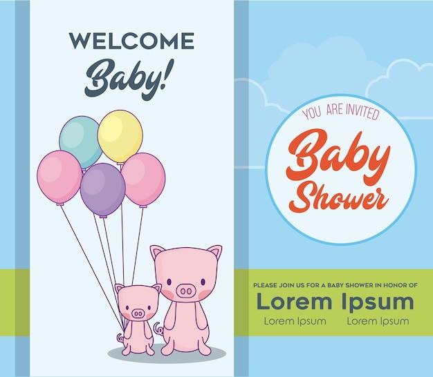 Baby Shower Tarjeta De Invitación Con Lindos Cerdos Vector