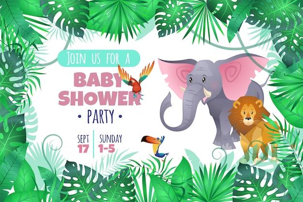 Baby shower tropical. elefante león en la selva, joven africano adorable animal salvaje y palmera del sur deja invitación de dibujos animados Vector Premium