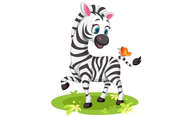 Baby zebra dibujo jugando con mariposa vector gratuito