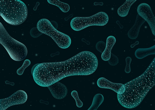 Bacterias 3d bajo poli renderizado de probióticos. flora de digestión normal saludable de la producción de yogur del intestino humano. primer microscópico de bacterias. Vector Premium