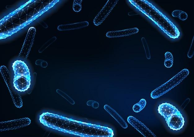 Bacterias poligonales futuristas bajas con espacio para texto en azul oscuro. Vector Premium