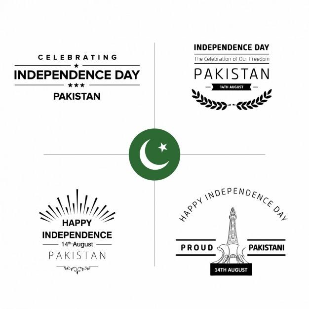 Badges del día de la independencia de pakistán vector gratuito