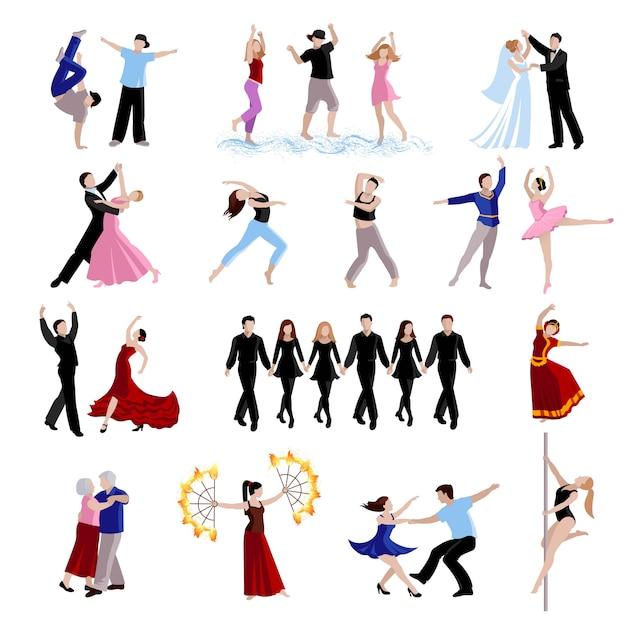 Bailar varios estilos de bailarines. vector gratuito