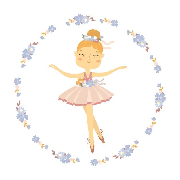 Bailarina en una corona de flores vector gratuito