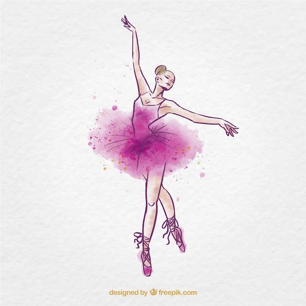 Bailarina de ballet acuarela incompleto descargar for Ballerine disegnate