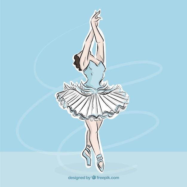 Bailarina dibujada a mano en una pose elegante vector gratuito
