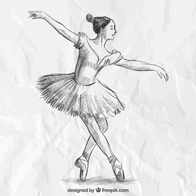 Bailarina elegante dibujada a mano Vector Premium