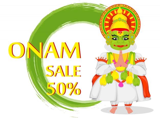 Bailarina de kathakali feliz festival de onam Vector Premium