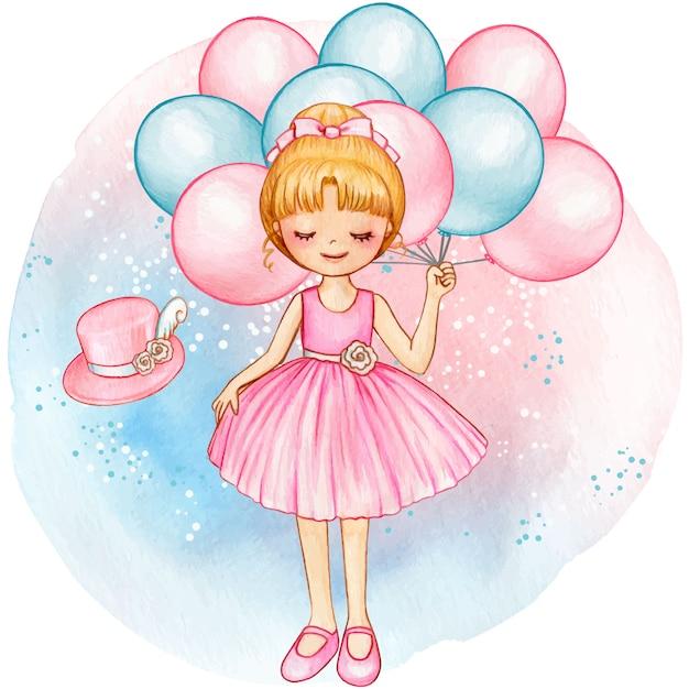 Bailarina princesa acuarela con globos rosas Vector Premium
