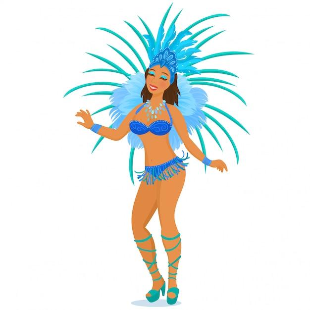 Bailarina de samba brasileña Vector Premium