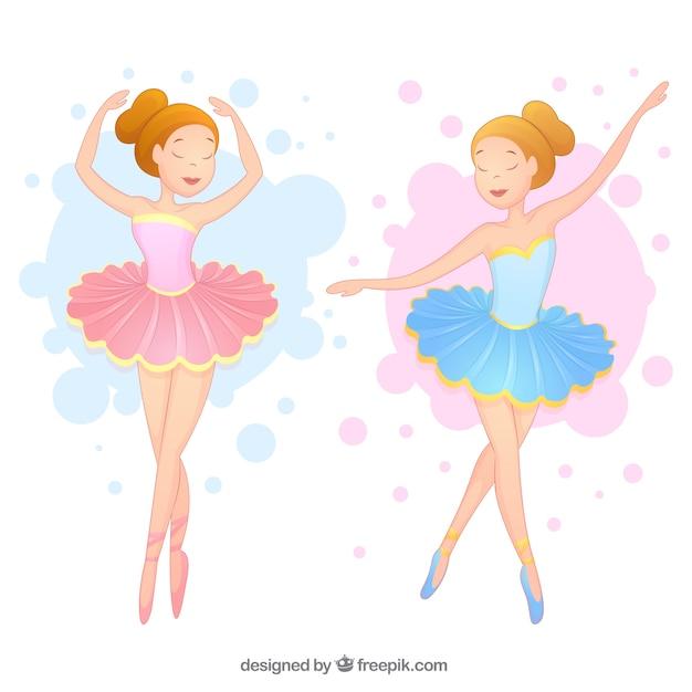 Bailarinas Hermosas En Dos Colores Descargar Vectores Gratis