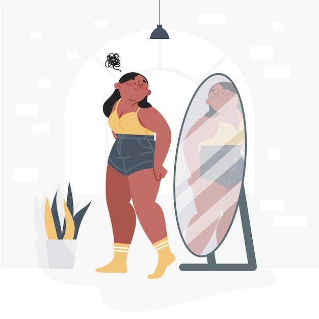 Baja autoestima con mujer y espejo vector gratuito