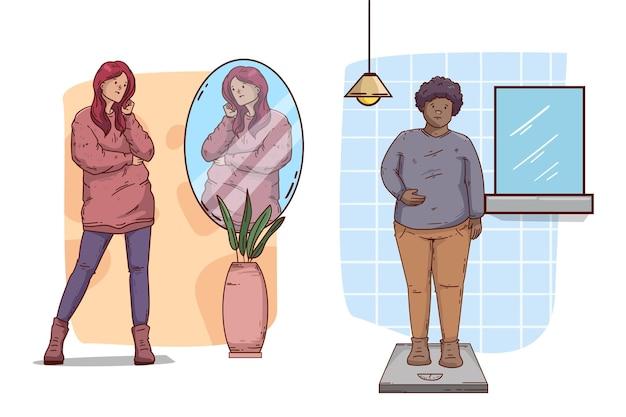 Baja autoestima con las personas y el espejo. vector gratuito
