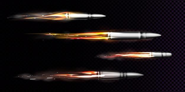 Balas voladoras con rastros de fuego y humo. disparos rastros de disparos de armas militares, disparos en movimiento, disparos de armas de metal, munición aislada vector gratuito
