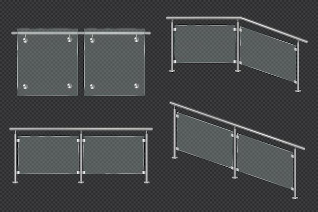 Balaustrada de vidrio con barandilla de hierro vector gratuito