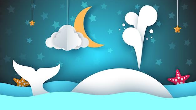 Ballena Mar Estrella Cielo Luna Ilustración De Dibujos