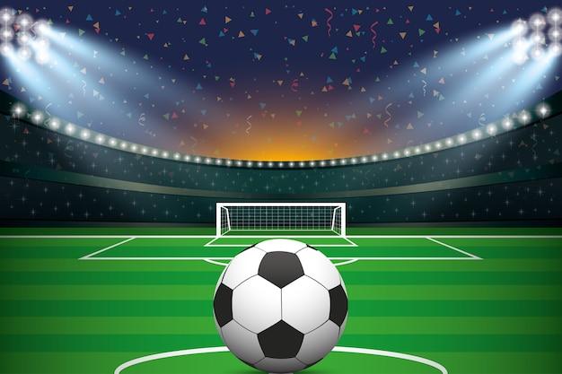 Balón de fútbol con estadio de fútbol y fondo de confeti ... 2b12812d443ab