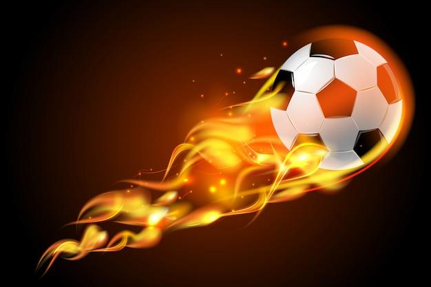 Balón de fútbol fuego sobre fondo negro vector gratuito