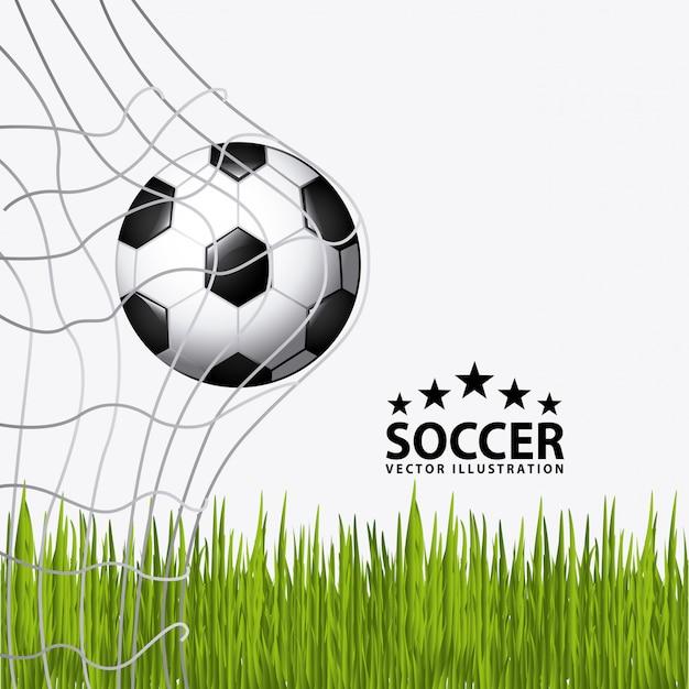 Balón de fútbol con hierba vector gratuito