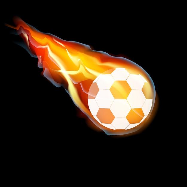 Balón de fútbol en llamas Vector Premium