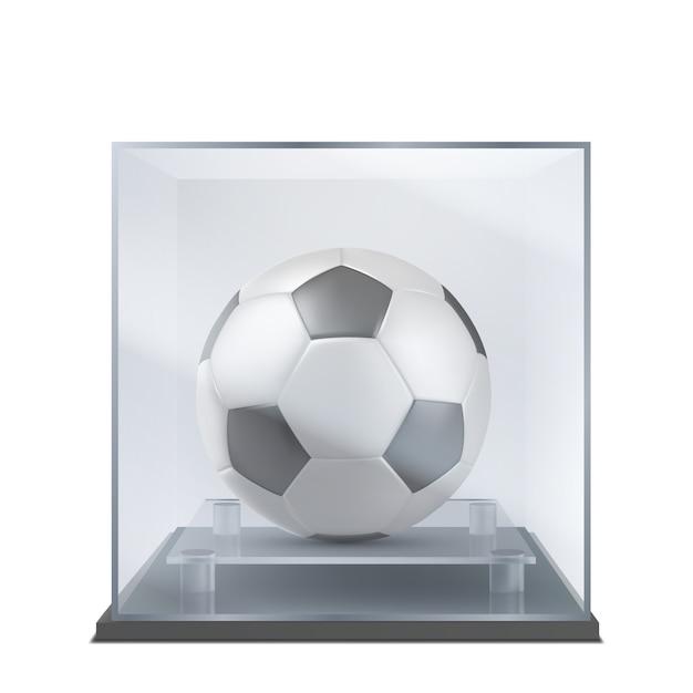 Balón de fútbol bajo vector realista de la caja de cristal vector gratuito