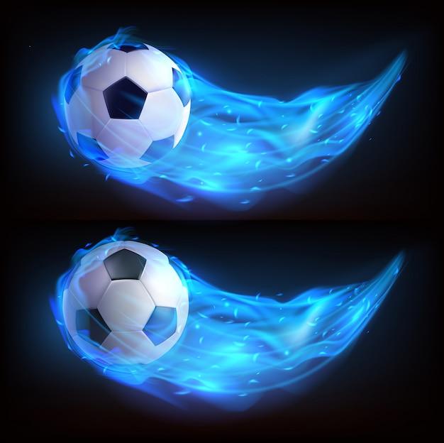 Balón de fútbol volando en fuego azul vector gratuito