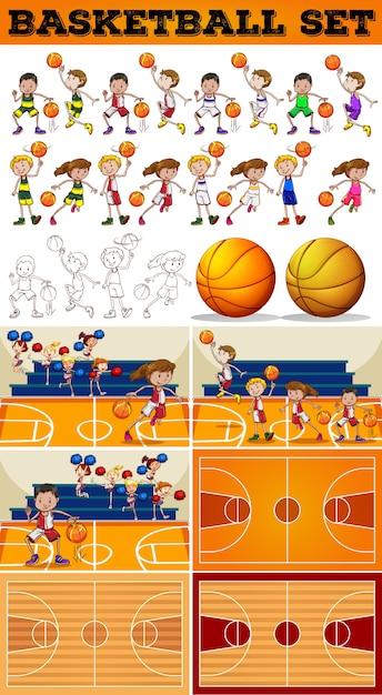 Baloncesto conjunto con jugadores y tribunales ilustración vector gratuito