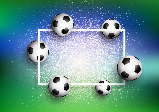 Balones De Futbol Sobre Fondo De Brillo Con Marco Blanco Descargar
