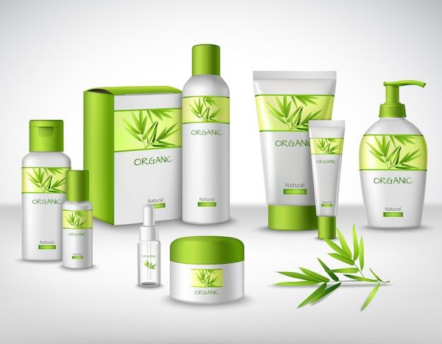 Bambú natural a base de productos cosméticos a base de hierbas. vector gratuito