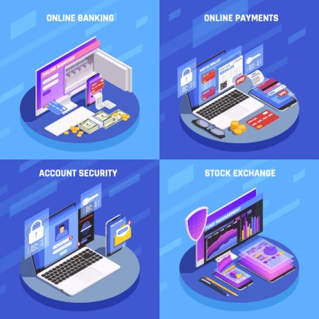 Banca por internet 4 iconos isométricos concepto cuadrado con pantalla de bolsa de valores de seguridad de cuenta vector gratuito