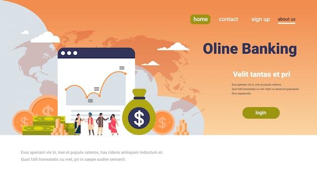 Banca en línea dinero gráfico crecimiento riqueza Vector Premium