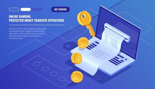 Banca en línea, recibo de recibo electrónico de internet, transacción de dinero de protección vector gratuito