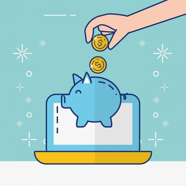 Banca en línea vector gratuito