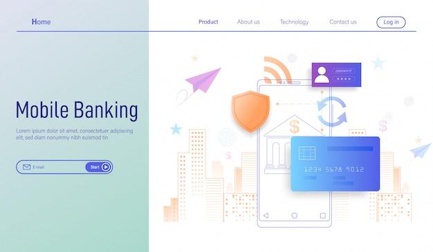 Banca móvil, pago en línea y protección de dinero en transacciones de teléfonos inteligentes. Vector Premium