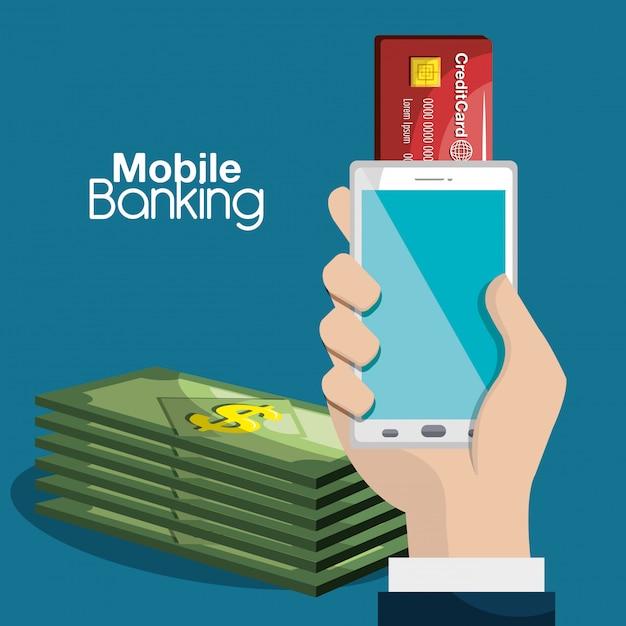 La banca móvil vector gratuito