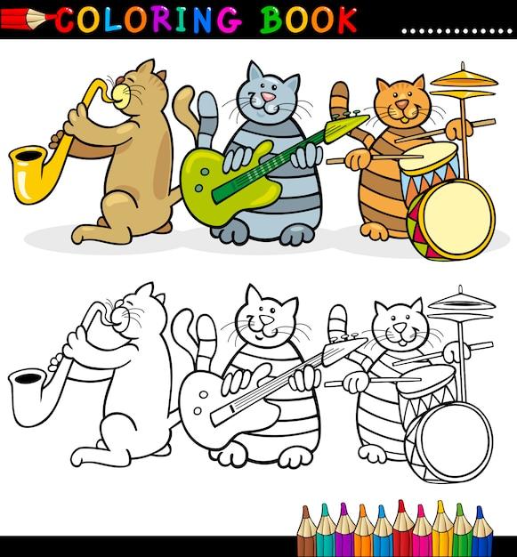 Banda de gatos para libro de colorear o página   Descargar Vectores ...