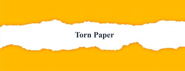 Bandera amarilla con papel rasgado rasgado blanco vector gratuito