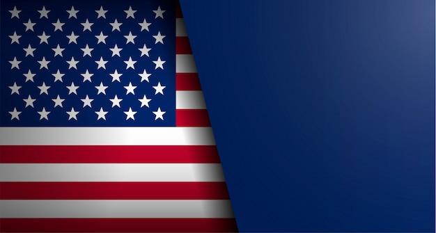 Bandera americana con forma de texto Vector Premium