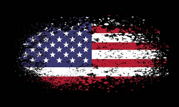 Bandera americana grunge sobre fondo negro Vector Premium