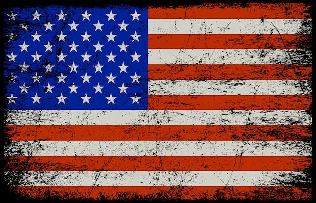 Bandera americana de grunge Vector Premium