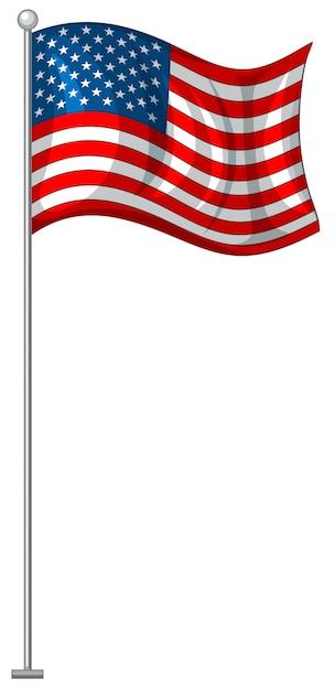 Bandera americana en poste de metal vector gratuito